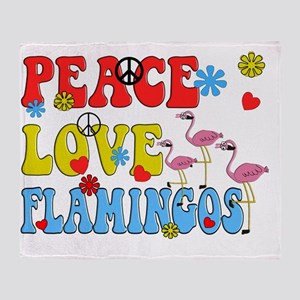 PEACE LOVE FLAMINGOS Throw Blanket