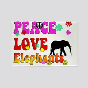 peace love elephants 2 Rectangle Magnet