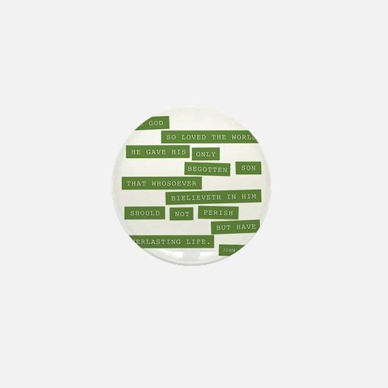 John 3:16 - Classic Green Mini Button