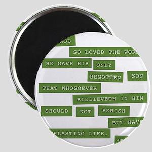 John 3:16 - Classic Green Magnet