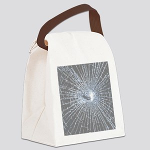 Broken Glass 2 Gray Canvas Lunch Bag