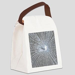 Broken Glass 2 Gray Canvas Lunch Bag