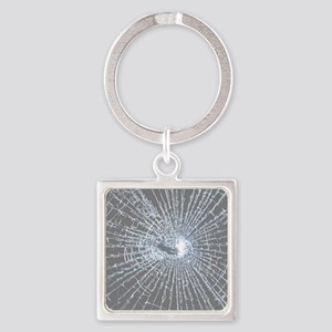 Broken Glass 2 Gray Square Keychain