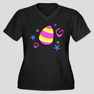Colorful Easter Egg Women's Plus Size V-Neck Dark