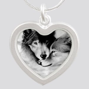 Wolves Silver Heart Necklace