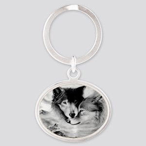 Wolves Oval Keychain