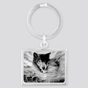 Wolves Landscape Keychain