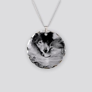 Wolves Necklace Circle Charm