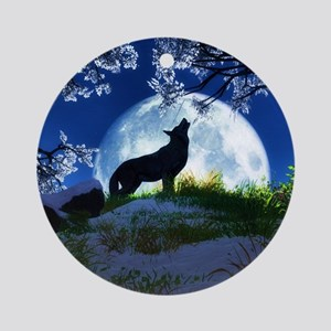 Howling Wolf Round Ornament