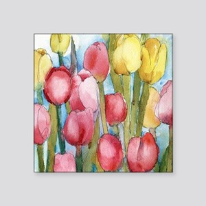 """Pink Tulip Party Square Sticker 3"""" x 3"""""""