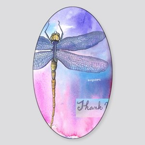 Dragonfly Thank You Sticker (Oval)