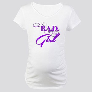 Purple Bad Girl logo Maternity T-Shirt