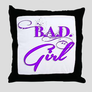Purple Bad Girl logo Throw Pillow