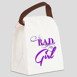 Purple Bad Girl logo Canvas Lunch Bag