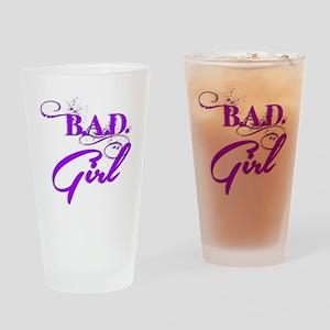Purple Bad Girl logo Drinking Glass