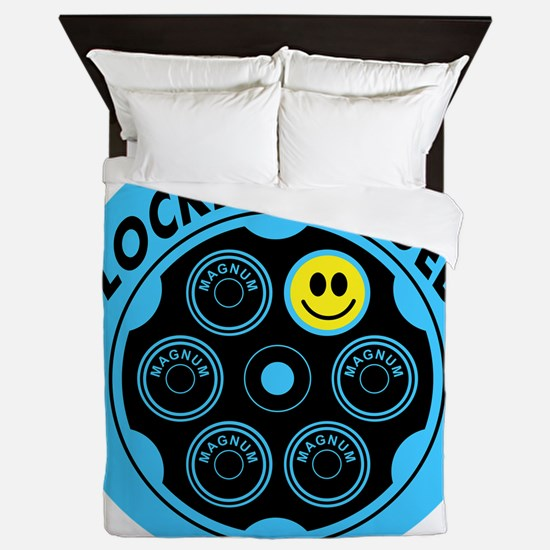 Locked and Loaded Smiley Bullets Queen Duvet