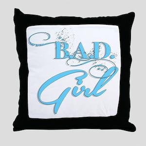 Blue Bad Girl logo Throw Pillow