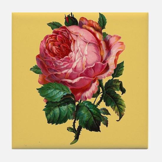 Victorian Red Rose Tile Coaster