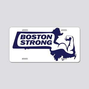 Boston Strong Bicep Blue Aluminum License Plate