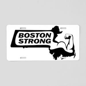 Boston Strong Bicep Black Aluminum License Plate