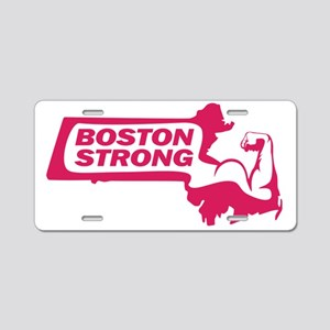 Boston Strong Bicep Pink Aluminum License Plate