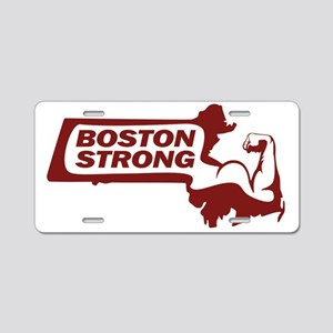Boston Strong Bicep Red Aluminum License Plate
