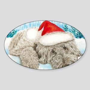 Christmas Labradoodle Sticker (Oval)