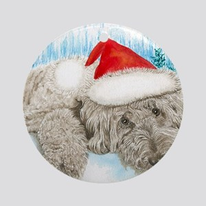 Christmas Labradoodle Round Ornament