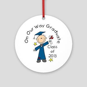 Boy Graduate 2013 Round Ornament