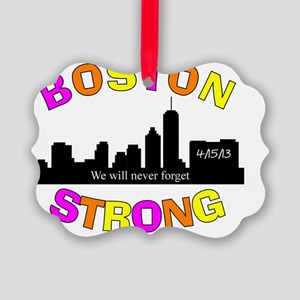 BOSTON STRONG CURVED 3 Picture Ornament