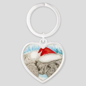 Christmas Labradoodle Heart Keychain