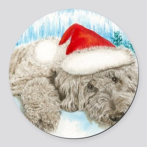 Christmas Labradoodle Round Car Magnet