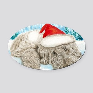 Christmas Labradoodle Oval Car Magnet