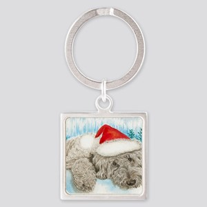 Christmas Labradoodle Square Keychain