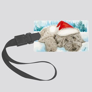 Christmas Labradoodle Large Luggage Tag