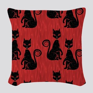 Black Cats on Red Silk Woven Throw Pillow