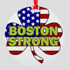 Boston Strong Shamrock Flag Round Ornament