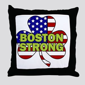 Boston Strong Shamrock Flag Throw Pillow