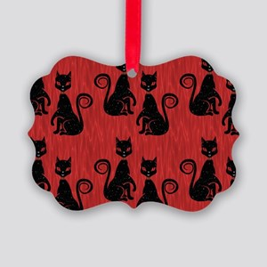 Black Cats on Red Silk Picture Ornament