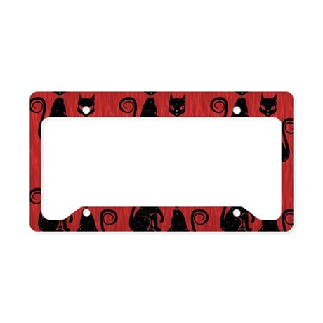 Black Cats on Red Silk License Plate Holder
