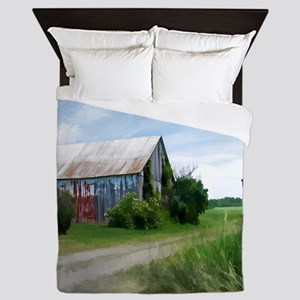 Rural Deserted Barn Queen Duvet