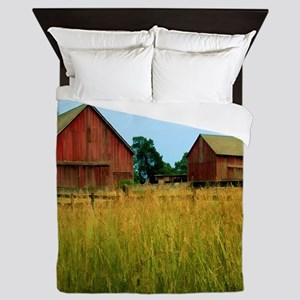 Farm Field with Red Barns Queen Duvet