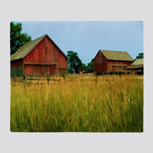 Farm Field with Red Barns Throw Blanket