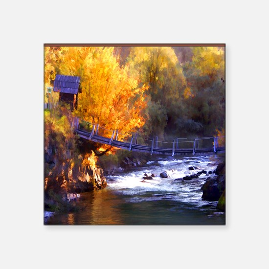 """Swinging Bridge Over Autumn Square Sticker 3"""" x 3"""""""