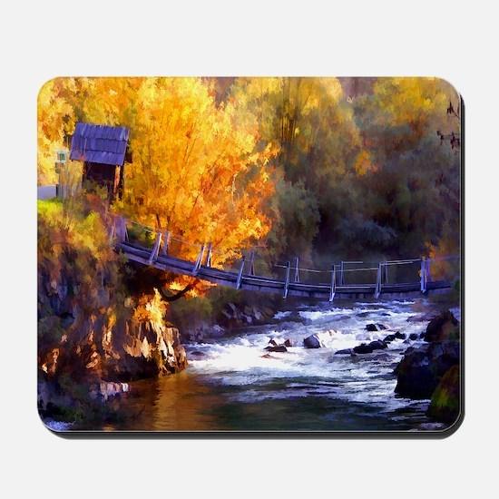 Swinging Bridge Over Autumn Creek Mousepad