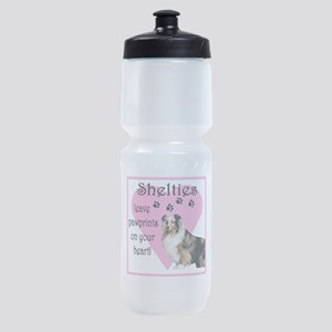 shelties paw prints2 Sports Bottle