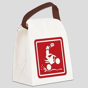 Quad Wheelie Warning Signs Canvas Lunch Bag