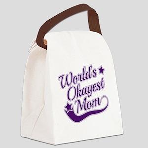 World's Okayest Mom Purple Canvas Lunch Bag