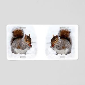 Squirrel in the snow Aluminum License Plate