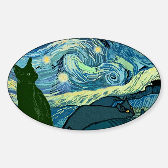 Van Goghs Cats Sticker (Oval)